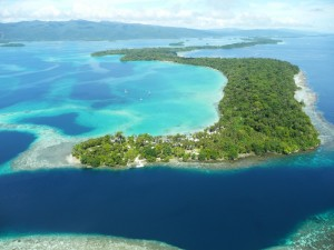 Aerial photo of Uepi Island, Solomons